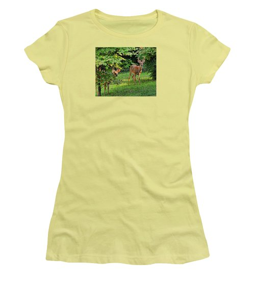 Women's T-Shirt (Junior Cut) featuring the photograph Morning Visitors by Rick Friedle