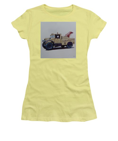 Women's T-Shirt (Junior Cut) featuring the painting Morris Commercial Wrecker. by Mike Jeffries