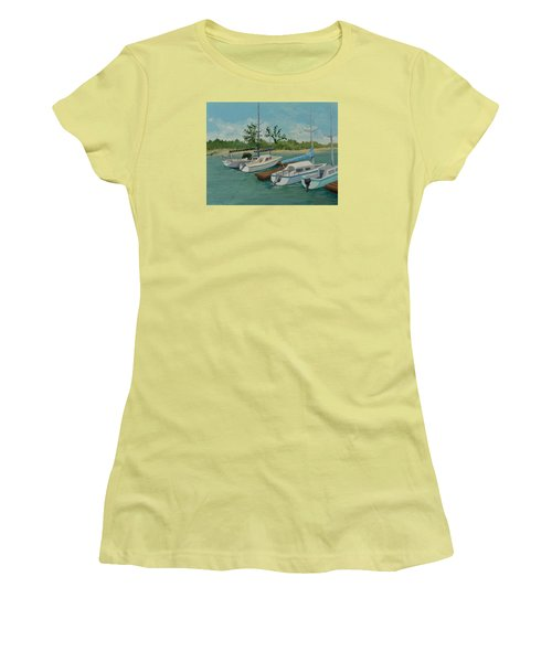 Women's T-Shirt (Junior Cut) featuring the painting Morro Bay State Park Ca by Katherine Young-Beck