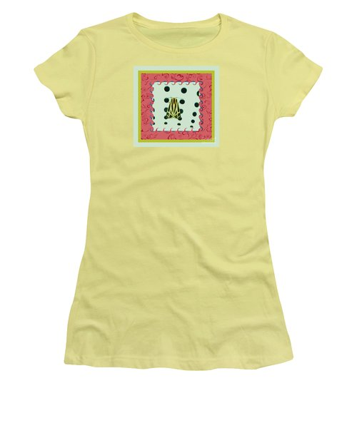 Moth Red Border Women's T-Shirt (Athletic Fit)