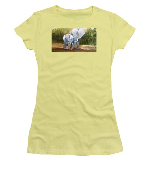 Mother Love Elephants Women's T-Shirt (Athletic Fit)