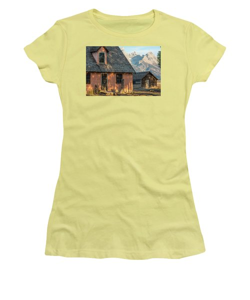Women's T-Shirt (Athletic Fit) featuring the photograph Moulton Homestead - Pink House At Morning Light by Colleen Coccia