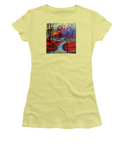 Women's T-Shirt (Junior Cut) featuring the painting Mount Royal Peel's Exit by Marie-Line Vasseur