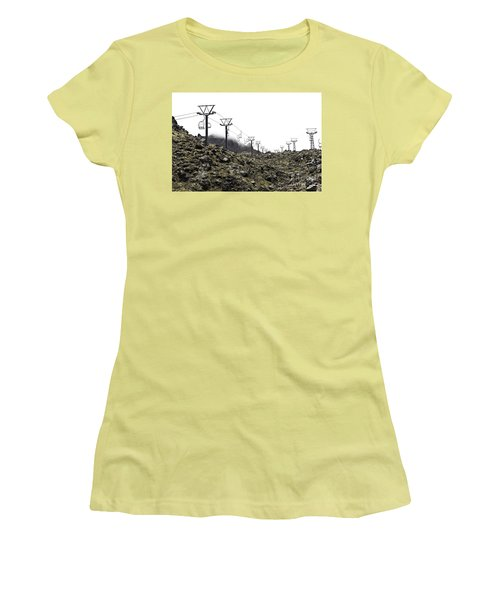 Mountain Cable Road Waiting For Snow. Mount Ruapehu. New Zealand Women's T-Shirt (Junior Cut) by Yurix Sardinelly