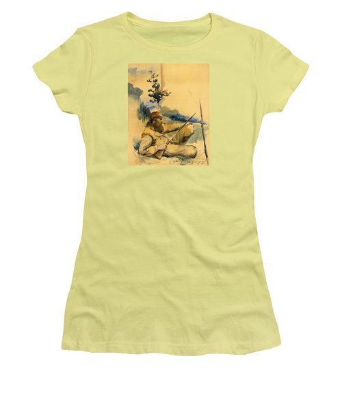 Women's T-Shirt (Junior Cut) featuring the drawing Mountain Man by Charles Schreyvogel
