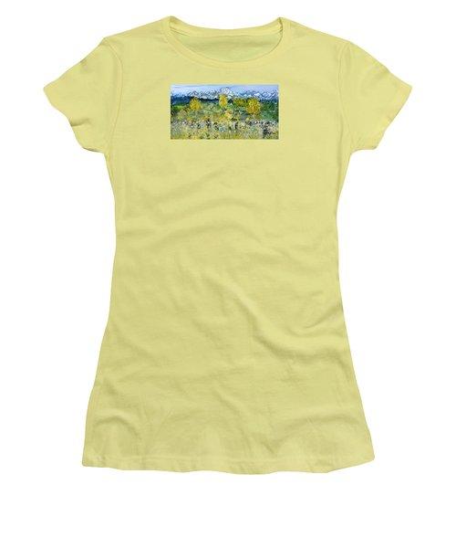 Women's T-Shirt (Junior Cut) featuring the painting Mountain View by Evelina Popilian