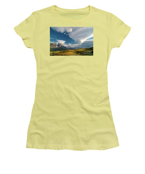 Mountains And Lenticular Cloud In Patagonia Women's T-Shirt (Athletic Fit)