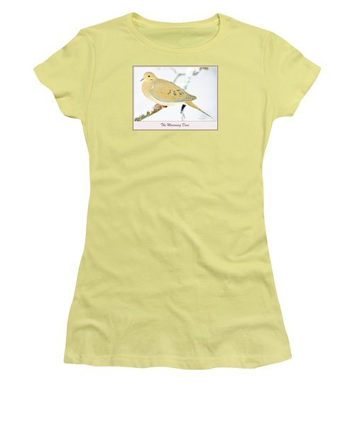 Women's T-Shirt (Junior Cut) featuring the photograph Mourning Dove In Snow Animal Portrait by A Gurmankin