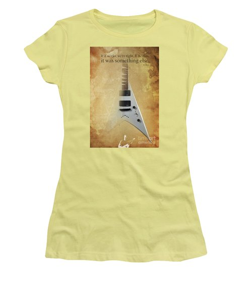 Dr House Inspirational Quote And Electric Guitar Brown Vintage Poster For Musicians And Trekkers Women's T-Shirt (Athletic Fit)