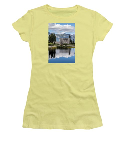 Mt Baker Lodge Reflecting In Picture Lake 3 Women's T-Shirt (Junior Cut) by Rob Green