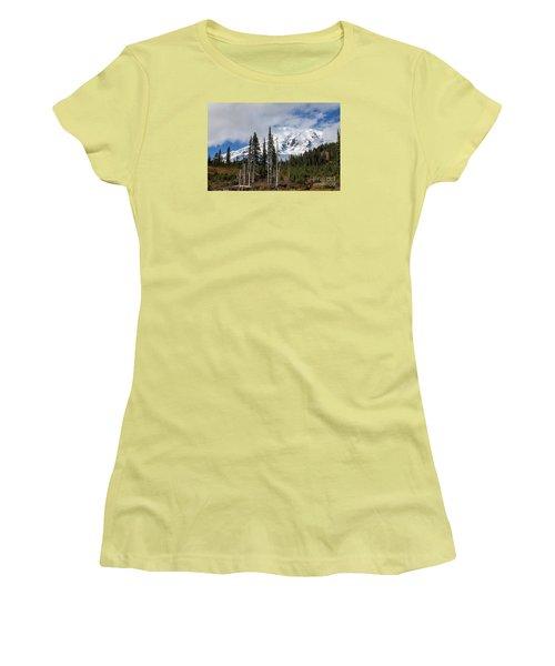 Mt. Rainier High Meadow Women's T-Shirt (Junior Cut) by Chuck Flewelling