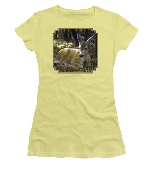 Mule Deer Fawn - A Quiet Place Women's T-Shirt (Athletic Fit)
