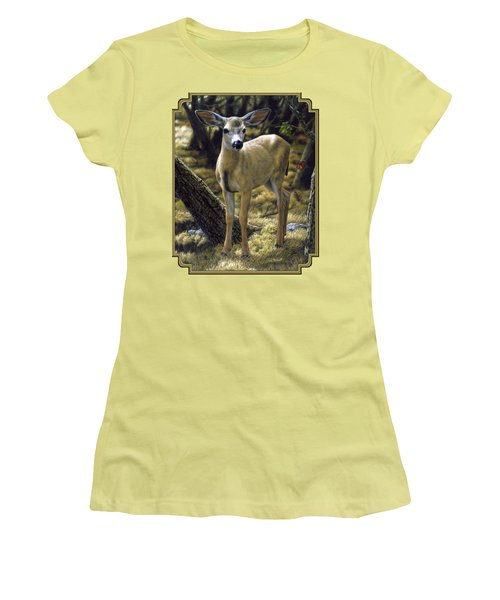 Mule Deer Fawn - Monarch Moment Women's T-Shirt (Athletic Fit)