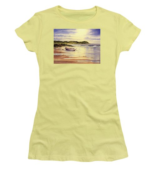 Women's T-Shirt (Athletic Fit) featuring the painting Mull Of Kintyre Scotland by Bill Holkham