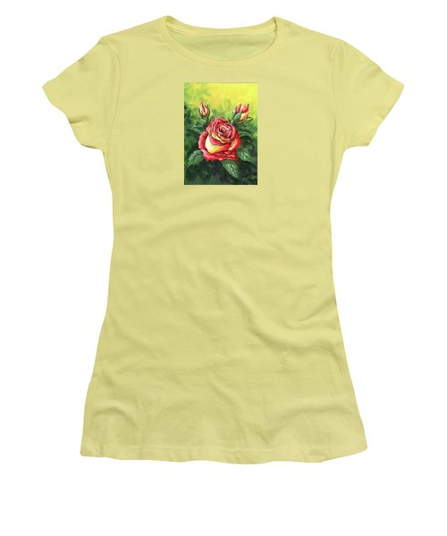 Multi Coloured Rose Sketch Women's T-Shirt (Athletic Fit)