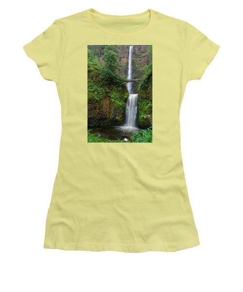 Women's T-Shirt (Junior Cut) featuring the photograph Multnoma Falls by Jonathan Davison