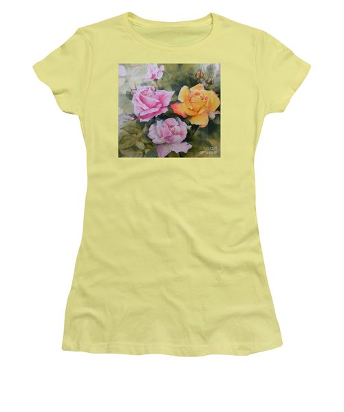 Women's T-Shirt (Junior Cut) featuring the painting Mum's Roses by Sandra Phryce-Jones