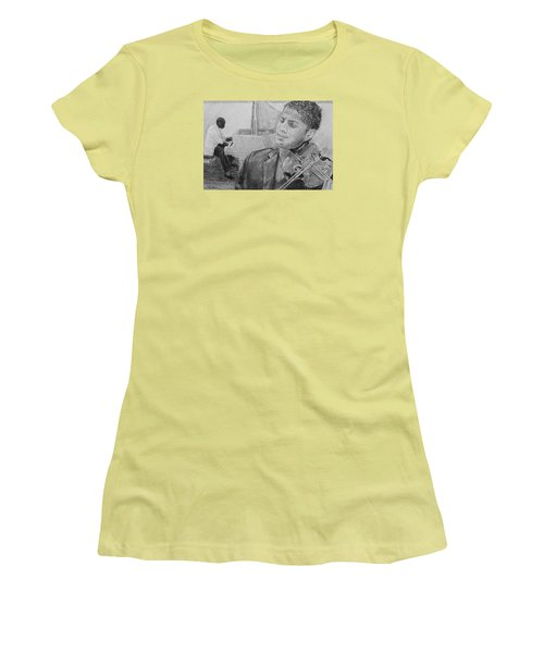 Women's T-Shirt (Junior Cut) featuring the drawing Music For The Soul by Quwatha Valentine