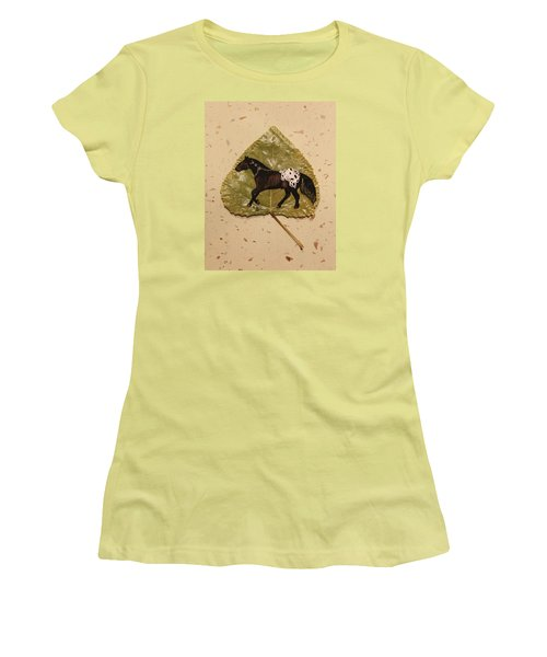 Mustang Appaloosa On Poplar Leaf Women's T-Shirt (Junior Cut) by Ralph Root