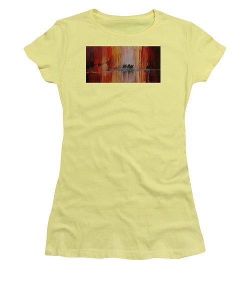 Mustang Canyon Women's T-Shirt (Junior Cut) by Karen Kennedy Chatham