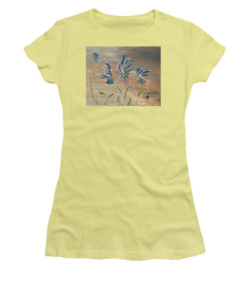 Women's T-Shirt (Junior Cut) featuring the painting My Blue Garden by Pat Purdy