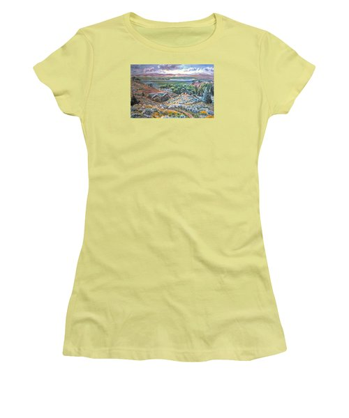 Women's T-Shirt (Junior Cut) featuring the painting My Home Looking West by Dawn Senior-Trask