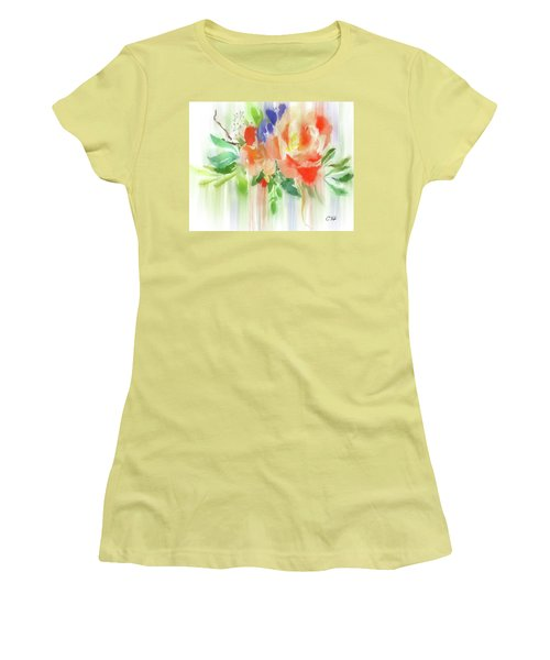 Women's T-Shirt (Junior Cut) featuring the painting My Roses Gently Weep by Colleen Taylor