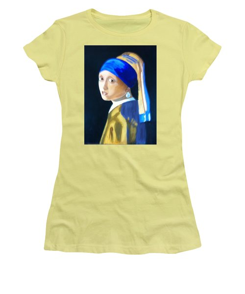 My Version-girl With The Pearl Earring Women's T-Shirt (Junior Cut) by Rod Jellison