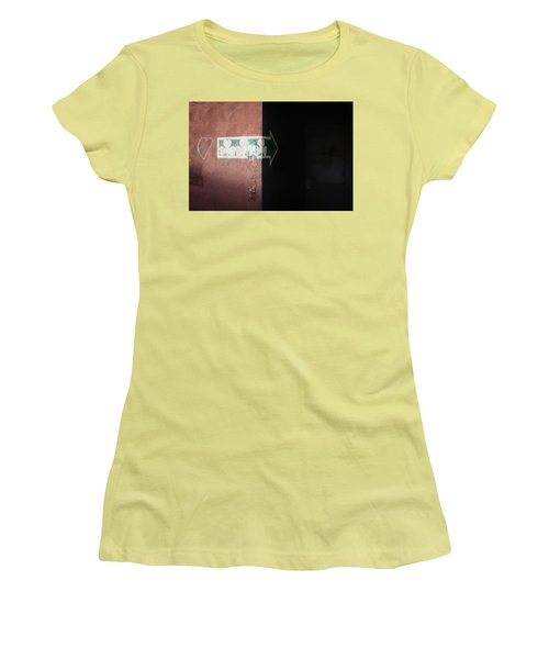 Women's T-Shirt (Athletic Fit) featuring the photograph Mystery In The Doorway by Monte Stevens