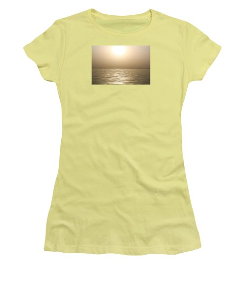 Women's T-Shirt (Junior Cut) featuring the photograph Mystery Sandstorm Sunset- The Red Sea by Glenn Feron