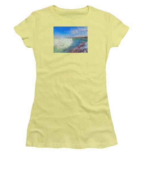 Women's T-Shirt (Junior Cut) featuring the painting Nagara Falls Point Of View by Mario Carini