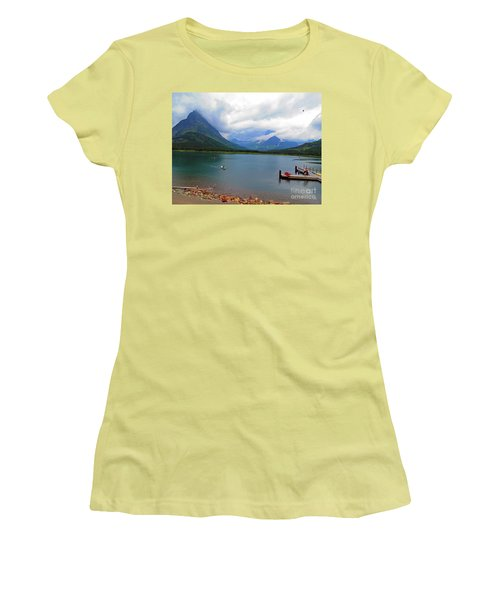Women's T-Shirt (Athletic Fit) featuring the photograph National Parks. Serenity Of Mcdonald by Ausra Huntington nee Paulauskaite