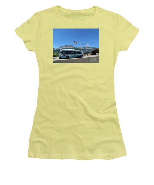 Women's T-Shirt (Athletic Fit) featuring the photograph National Parks. St. Mary Visitor Center At Glacier by Ausra Huntington nee Paulauskaite