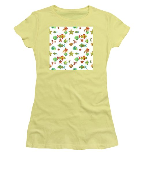 Women's T-Shirt (Junior Cut) featuring the painting Nautical Treasures-s by Jean Plout