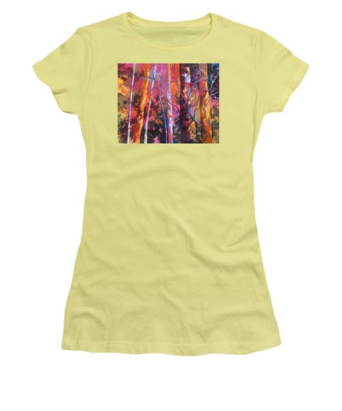 Women's T-Shirt (Junior Cut) featuring the painting Neon Damsels by Rae Andrews