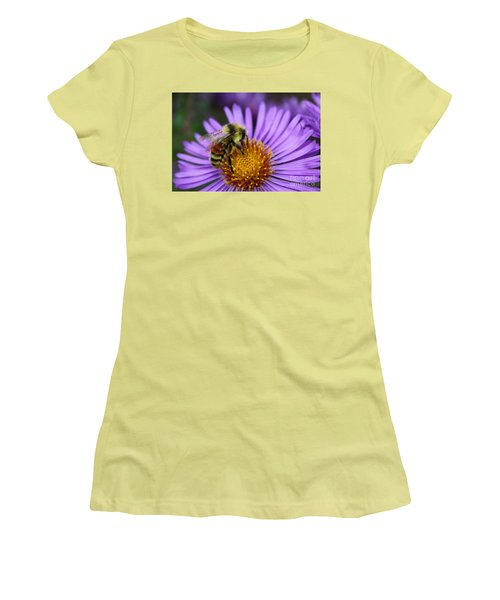 Women's T-Shirt (Junior Cut) featuring the photograph New England Aster And Bee by Steve Augustin