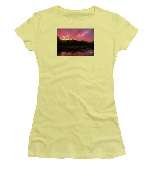 Women's T-Shirt (Junior Cut) featuring the photograph New Hampshire Sunrise Glaze by Mim White