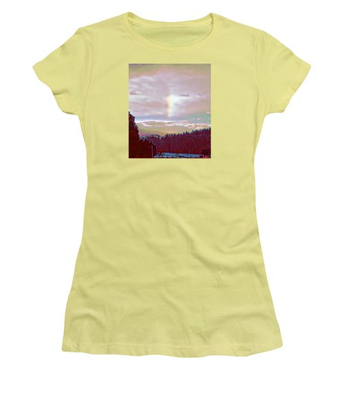 Women's T-Shirt (Junior Cut) featuring the photograph New Year's Dawning Fire Rainbow by Anastasia Savage Ealy