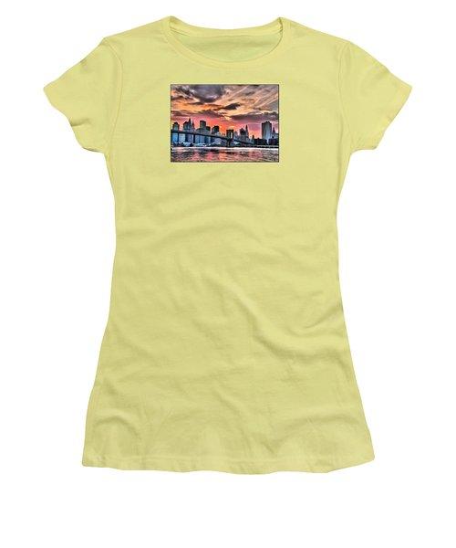 Women's T-Shirt (Junior Cut) featuring the digital art New York Sunset by Charmaine Zoe