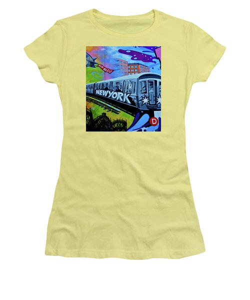 New York Train Women's T-Shirt (Junior Cut) by Joan Reese
