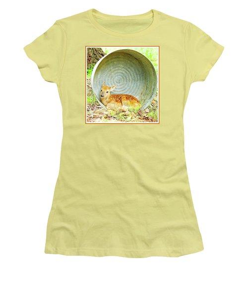 Newborn Fawn Finds Shelter In An Old Washtub Women's T-Shirt (Junior Cut) by A Gurmankin