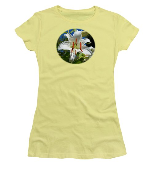 Newly Opened Lily Women's T-Shirt (Junior Cut) by Nick Kloepping