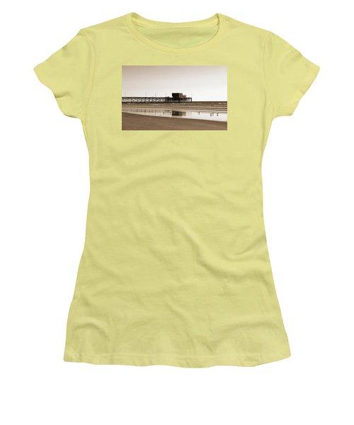 Newport Beach Pier Women's T-Shirt (Junior Cut) by Everette McMahan jr