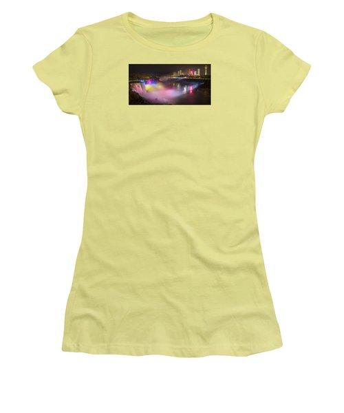 Women's T-Shirt (Junior Cut) featuring the photograph Niagara Rainbow by Mark Papke