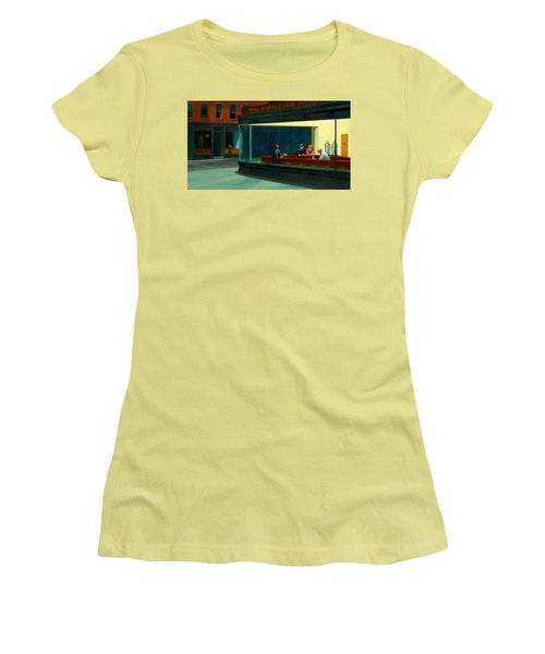 Night Hawks Women's T-Shirt (Junior Cut) by Edward Hopper