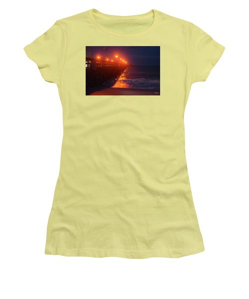 Night Pier Women's T-Shirt (Junior Cut) by Gordon Mooneyhan
