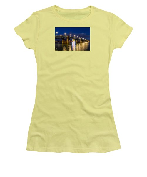 Women's T-Shirt (Junior Cut) featuring the photograph Night Shot Of The Pont Saint-pierre by Semmick Photo