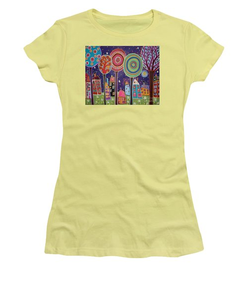 Night Village Women's T-Shirt (Athletic Fit)