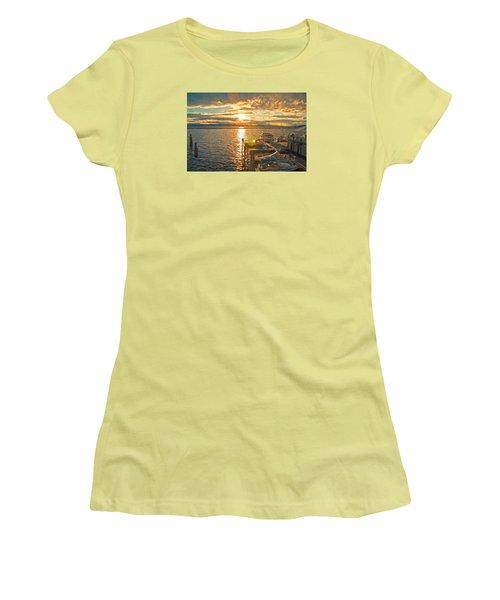 Nighttime Dockage Women's T-Shirt (Junior Cut) by Rena Trepanier