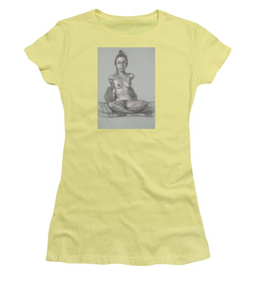 Women's T-Shirt (Junior Cut) featuring the drawing Nina Seated by Donelli  DiMaria